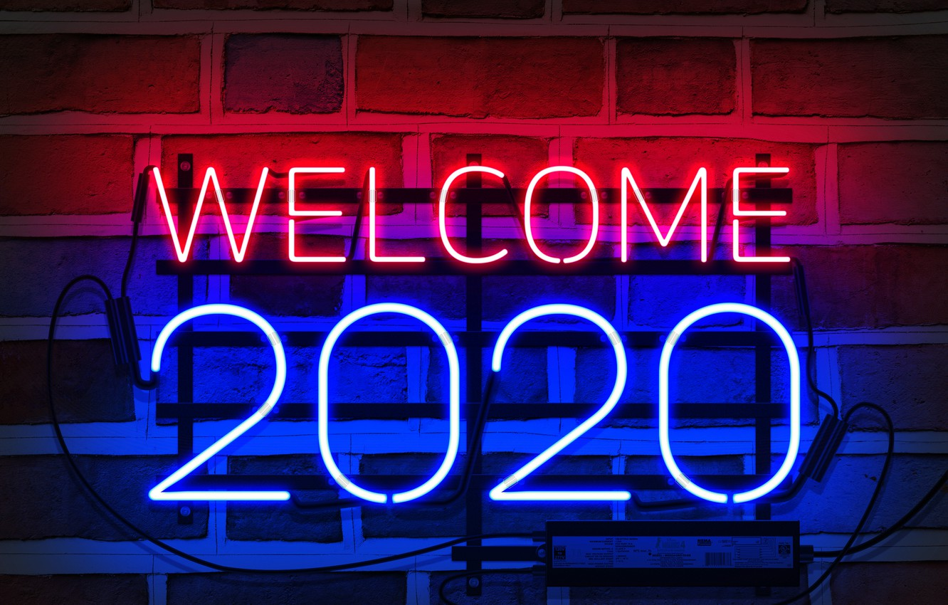 Wallpaper neon happy new year neon sign my works 2020 new year 1332x850