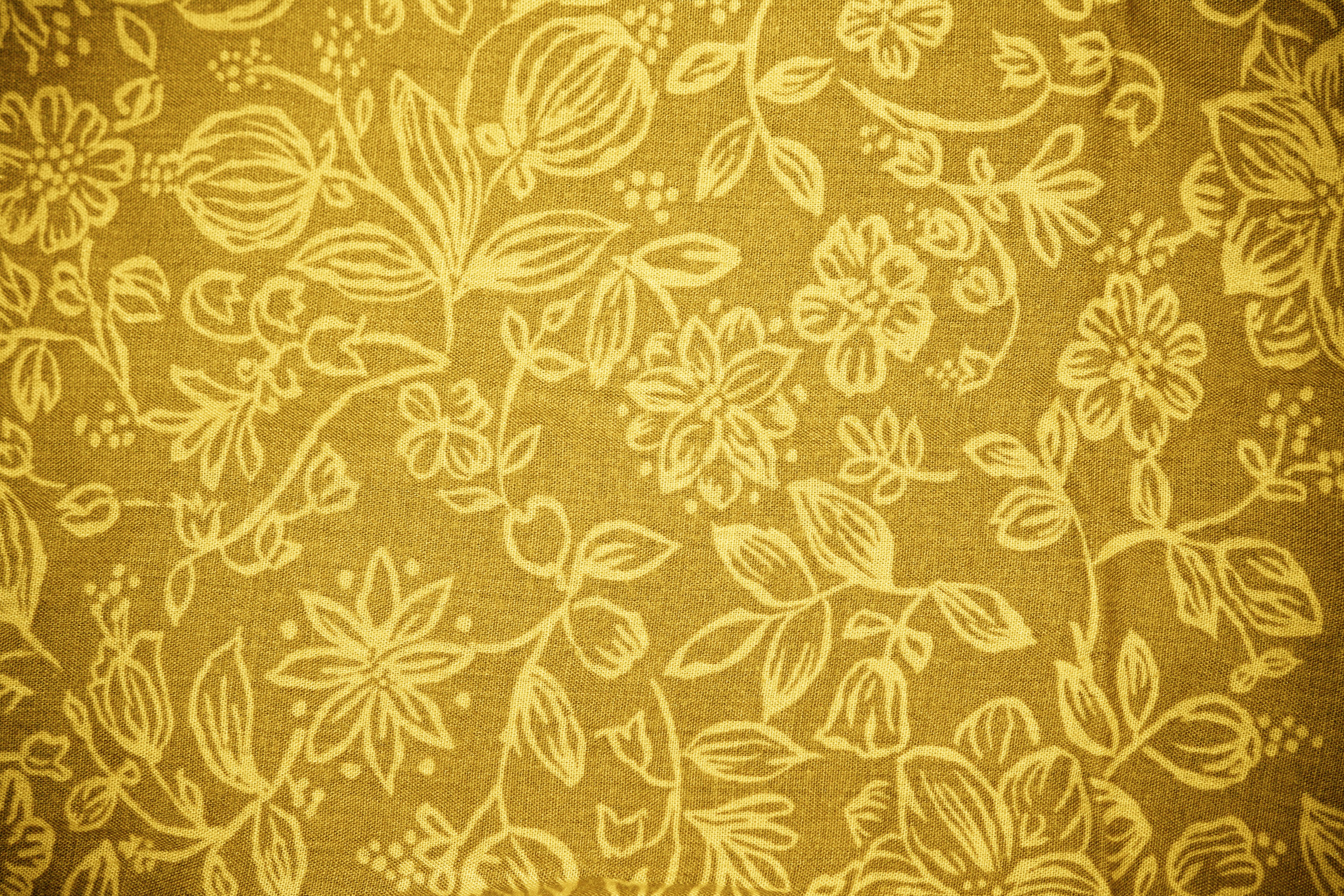 Gold Fabric with Floral Pattern Texture   High Resolution Photo 3888x2592