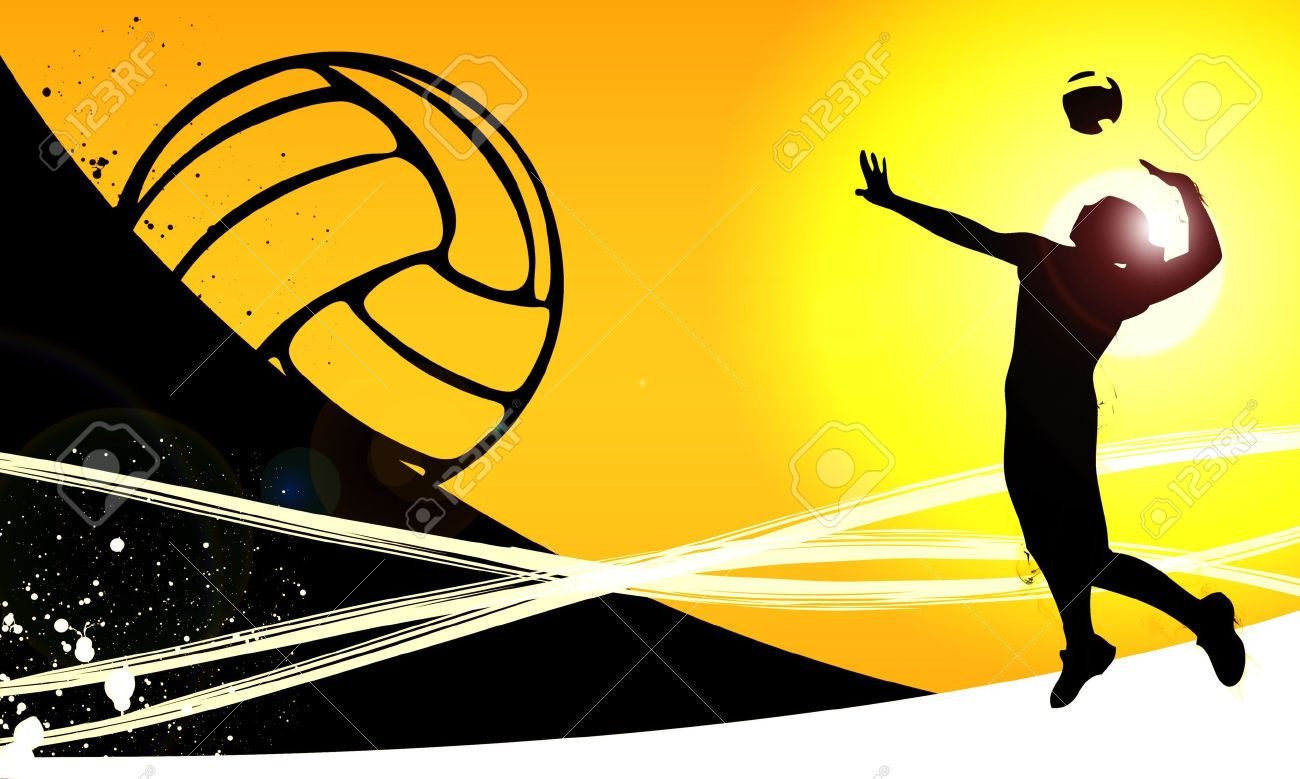 Volleyball Jumping Girl Sport Background With Space Stock Photo 1300x779