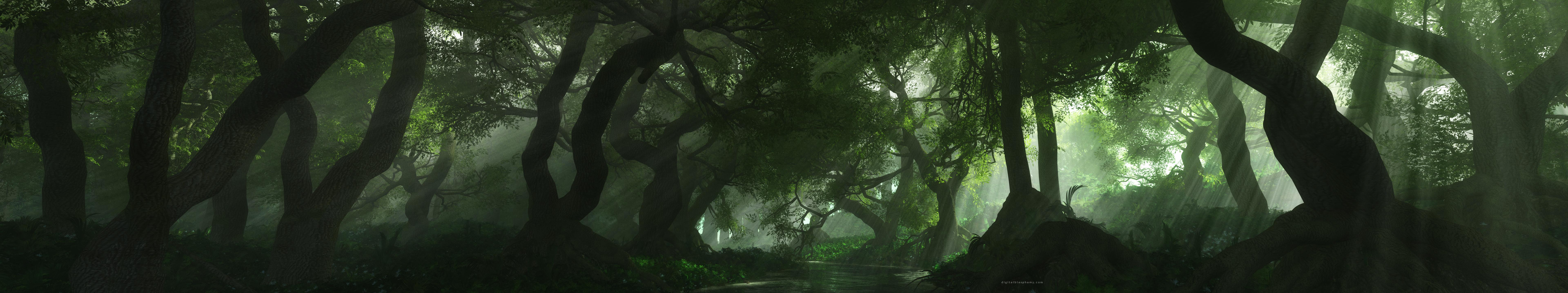 landscapes trees forest render 3d rendering scene 593604 7680x1440