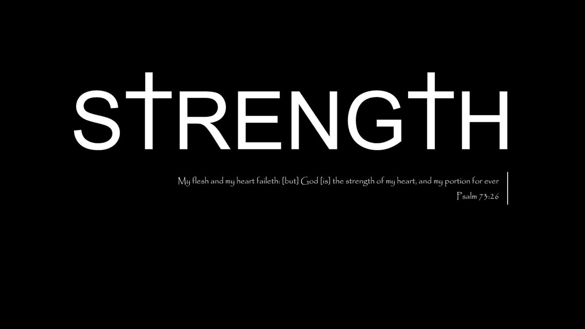 Strength text on black bacground God Jesus Christ Christianity 1920x1080