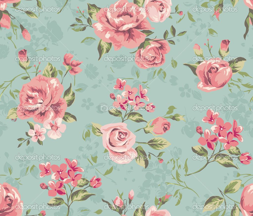 Free Download Wallpapers For Blue Vintage Floral Backgrounds