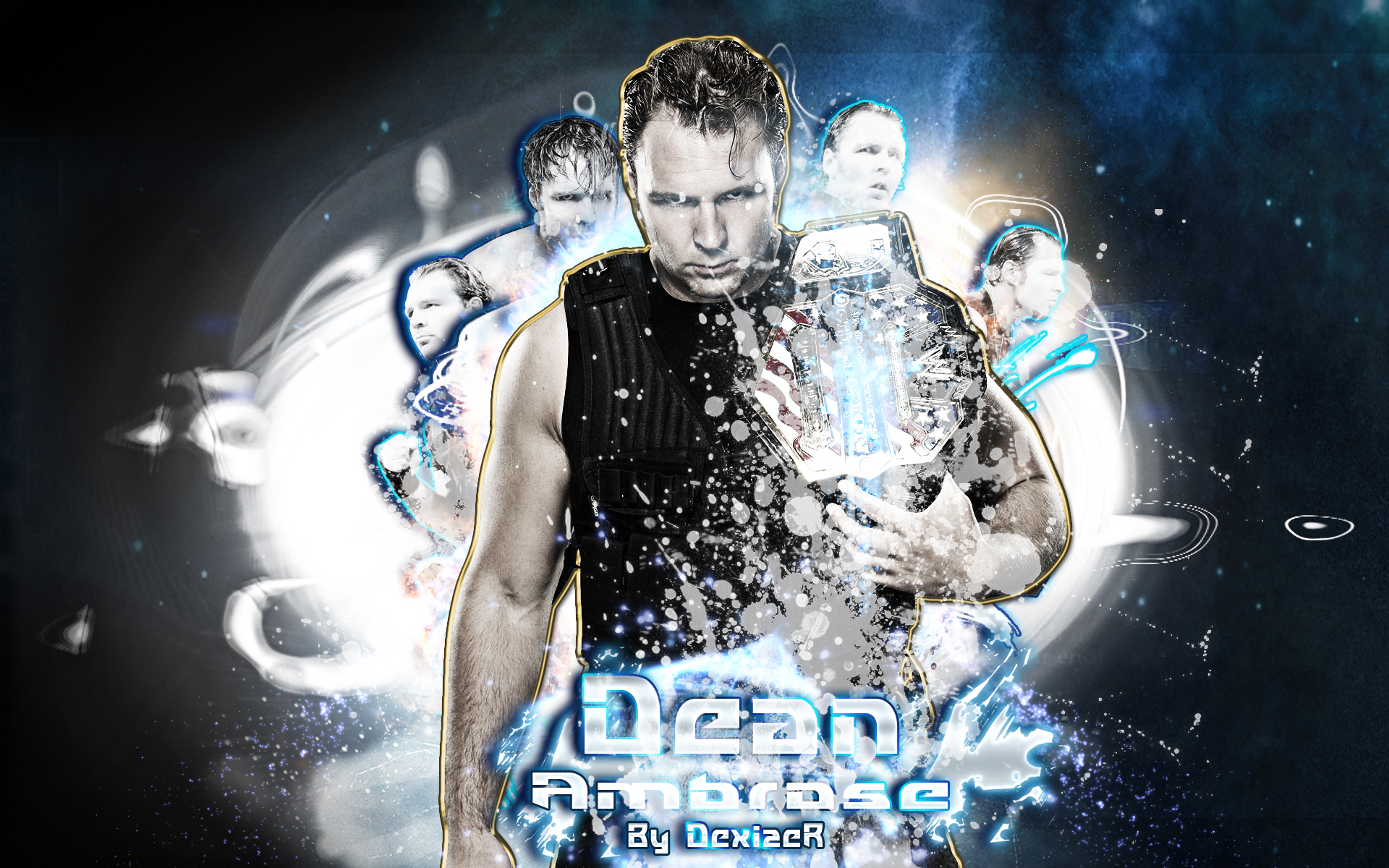 wwe dean ambrose 2014 by smiledexizer fan art wallpaper other 2014 1920x1200