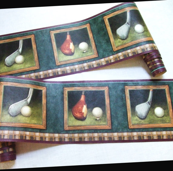 Man Cave Golf Wallpaper Border 6 Yards by LinensandThings on Etsy 570x562