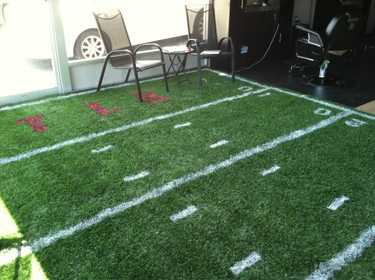 Room front entrance Awesome job on our custom football field 535x400