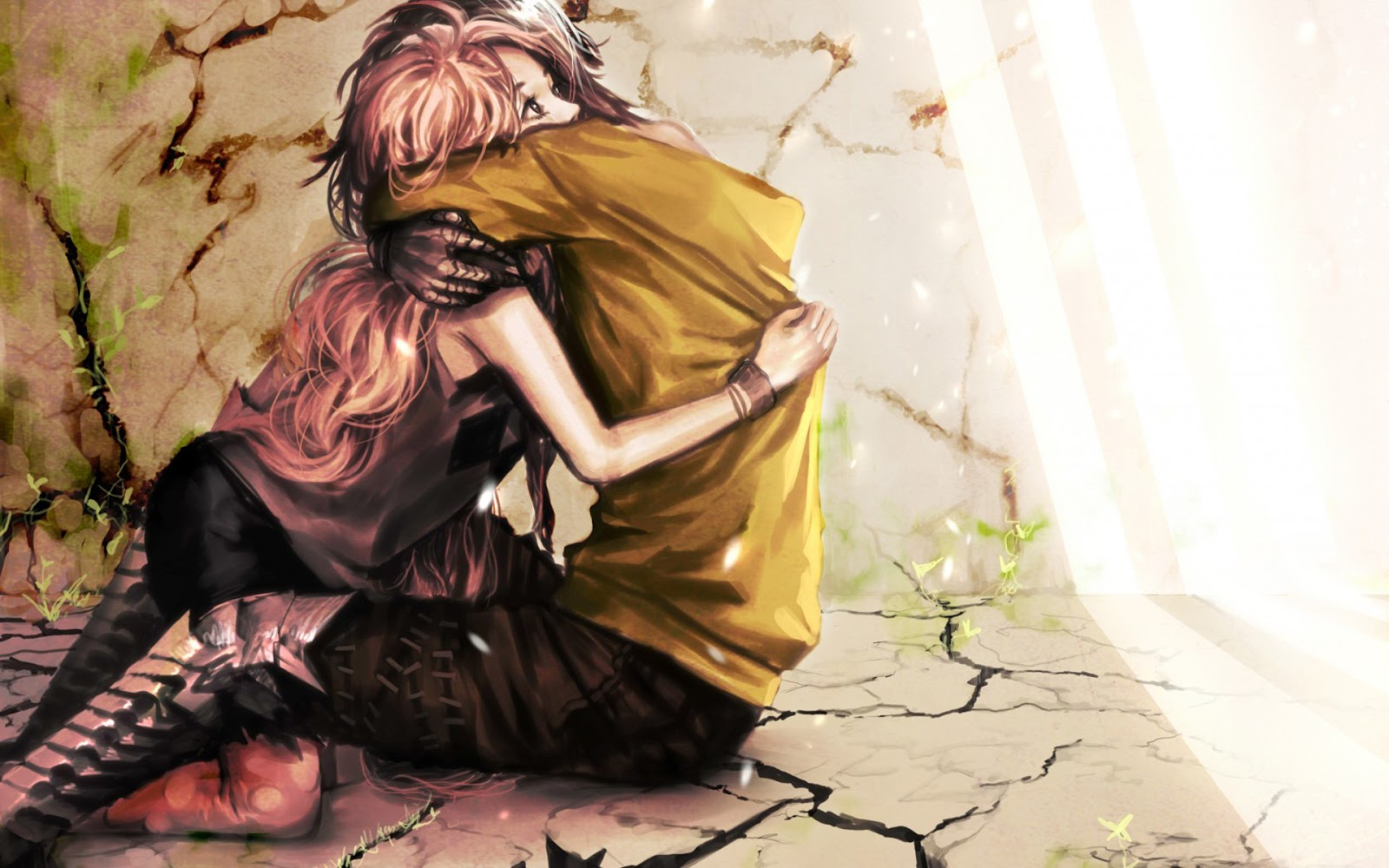 Anime Couple Girl Boy Hug HD Wallpaper Desktop PC Background 1600x1000