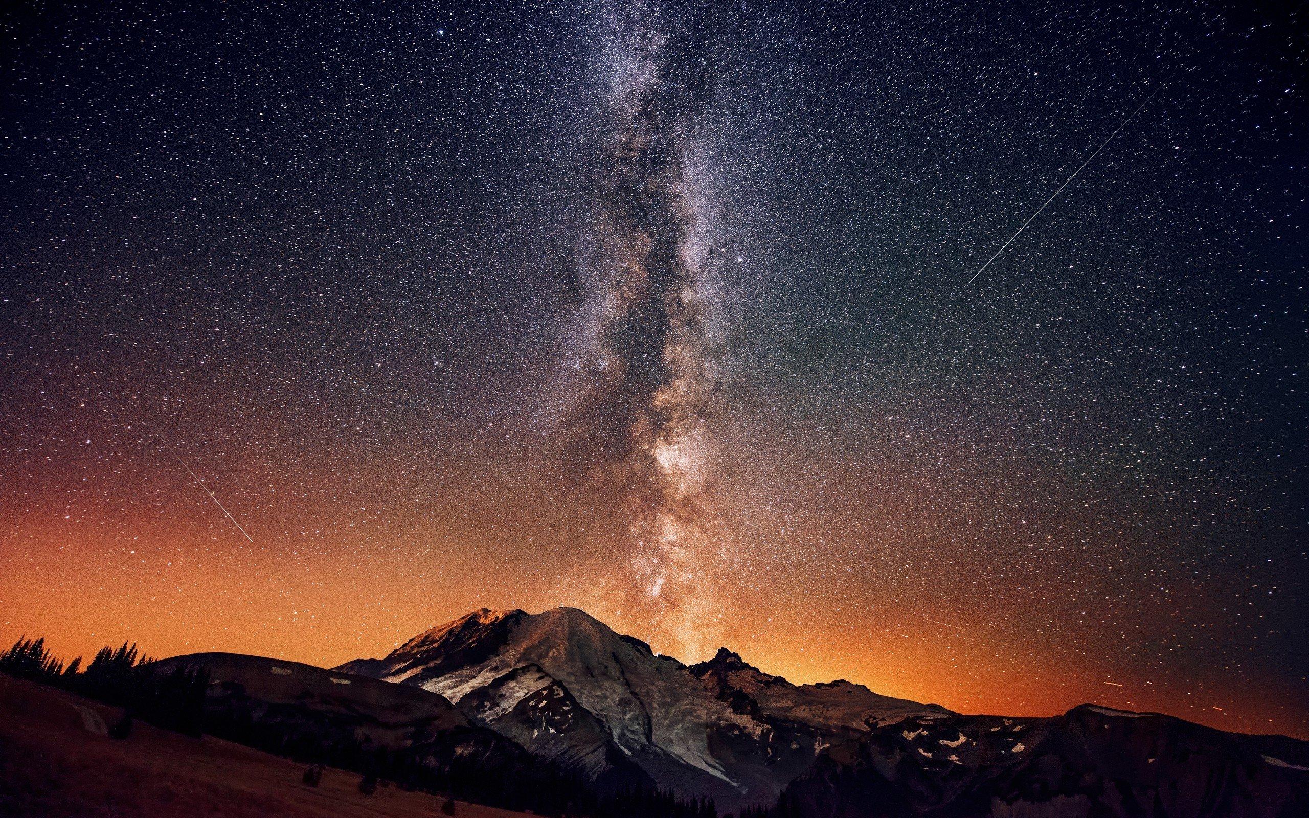 MountainNightSkyMilky Waywallpaper 2560x1600