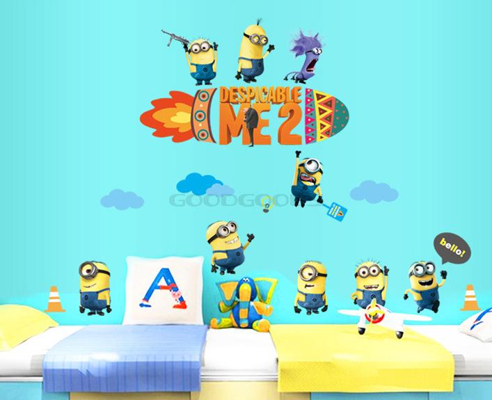 Despicable Me 2 Minions Movie Bedroom childrens Room Decals Wallpaper 707x575