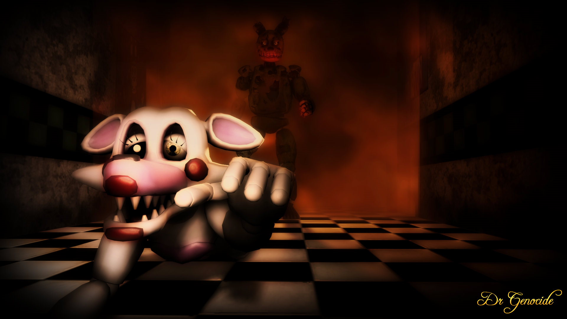 FNAF Springtrap vs Mangle Wallpaper by DrGenocideSFM 1920x1080
