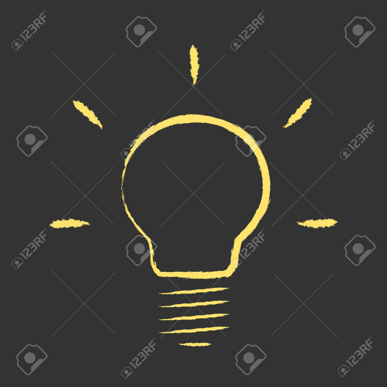 Yellow Glowing Hand Drawn Light Bulb On Black Background Idea 1300x1300