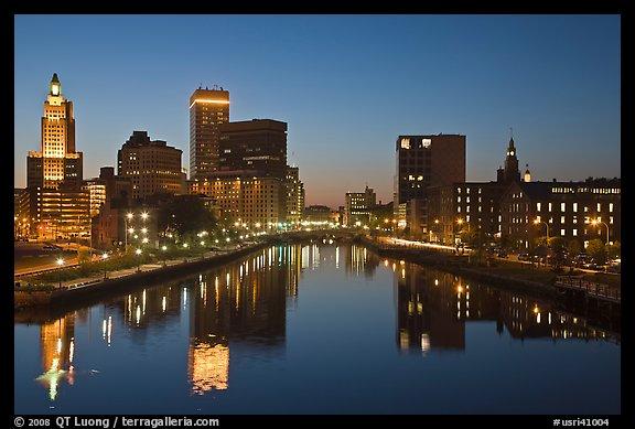 Photo Providence Skyline at dusk Providence Rhode Island USA 576x389