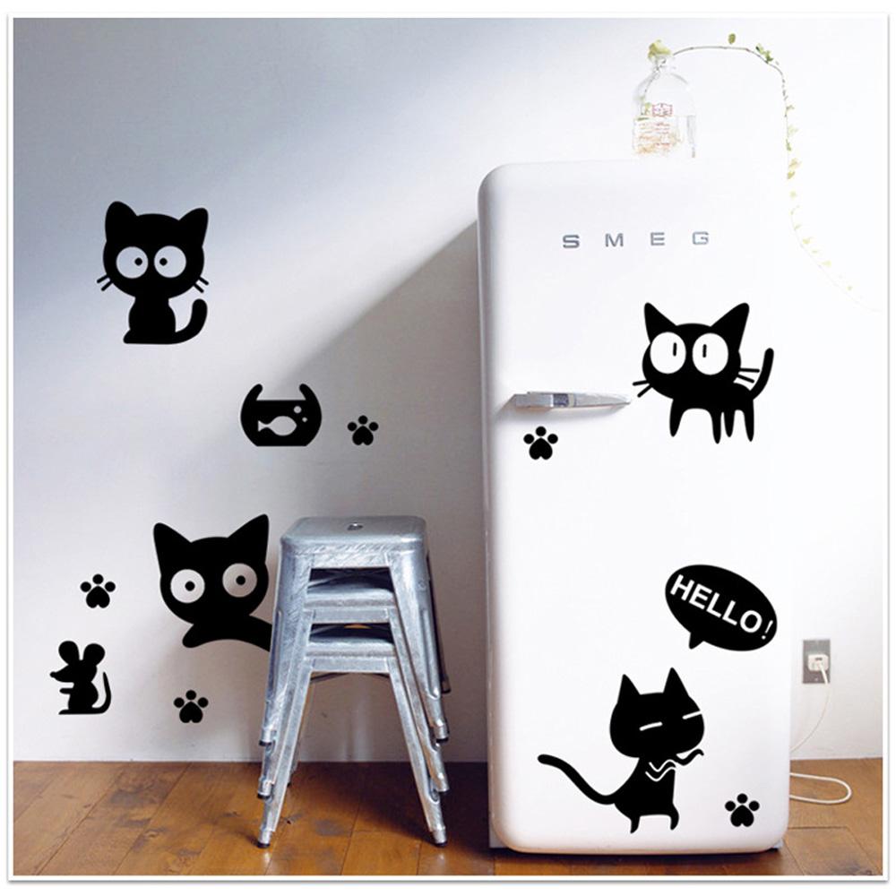 Removable Wall Decal Wall Sticker Black Cats DIY Wallpaper Art Decals 1000x1000