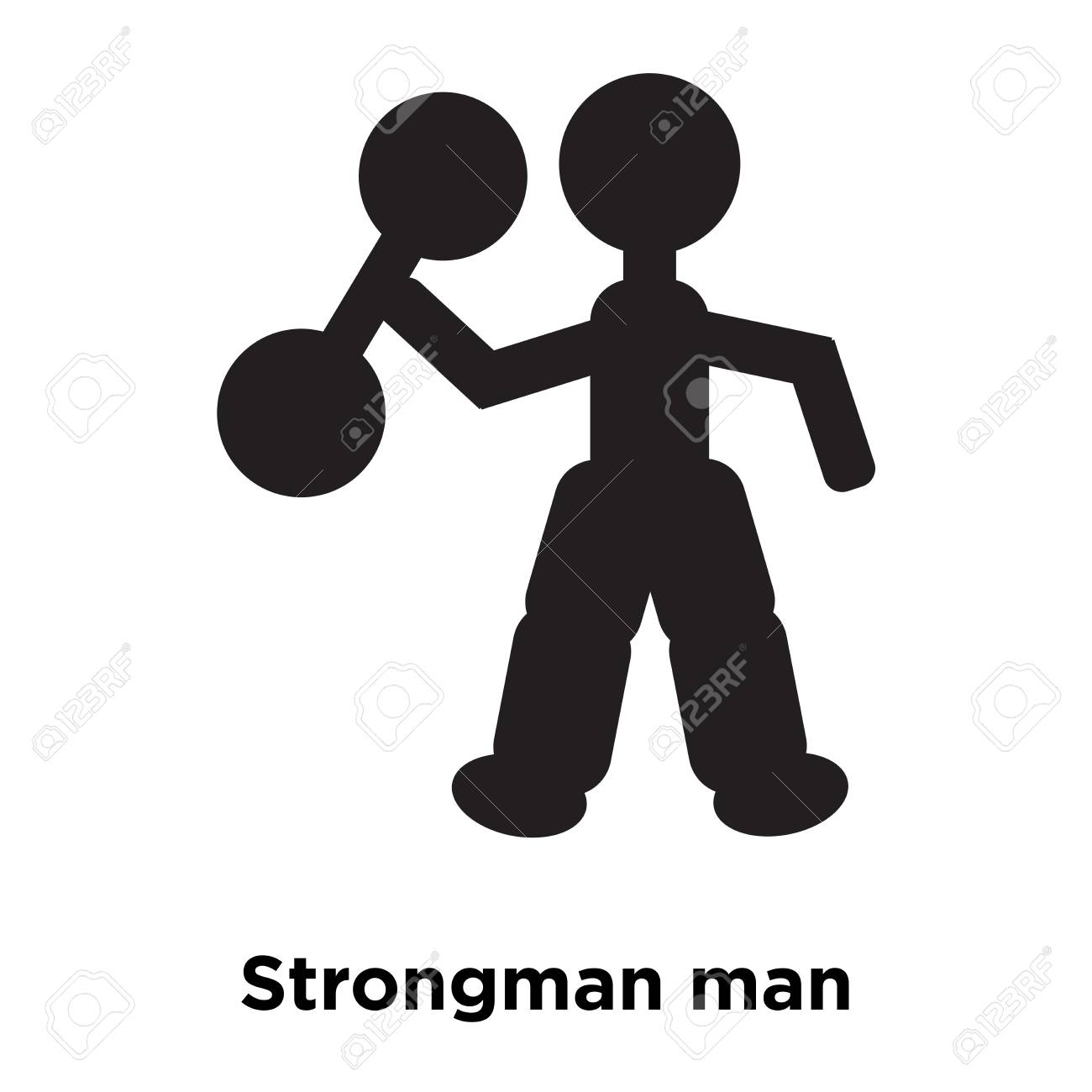 Strongman Man Icon Vector Isolated On White Background Logo 1300x1300