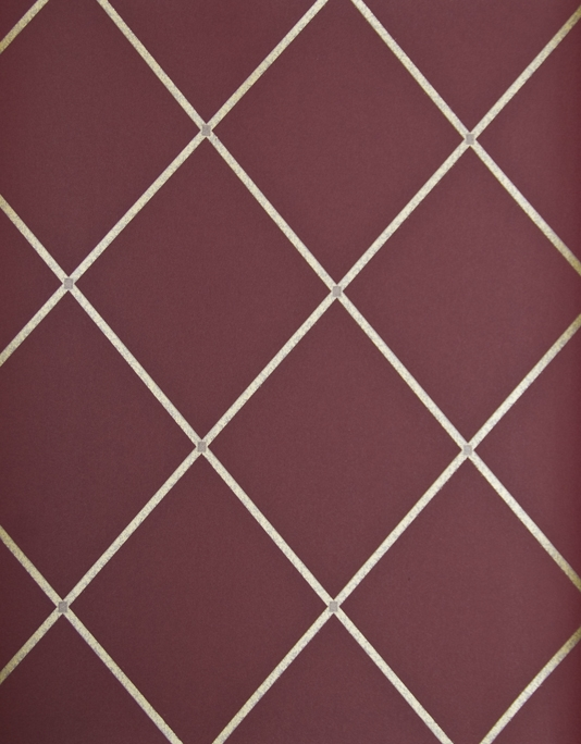 Trellis Wallpaper Deep red wallpaper with metallic gold trellis design 534x684