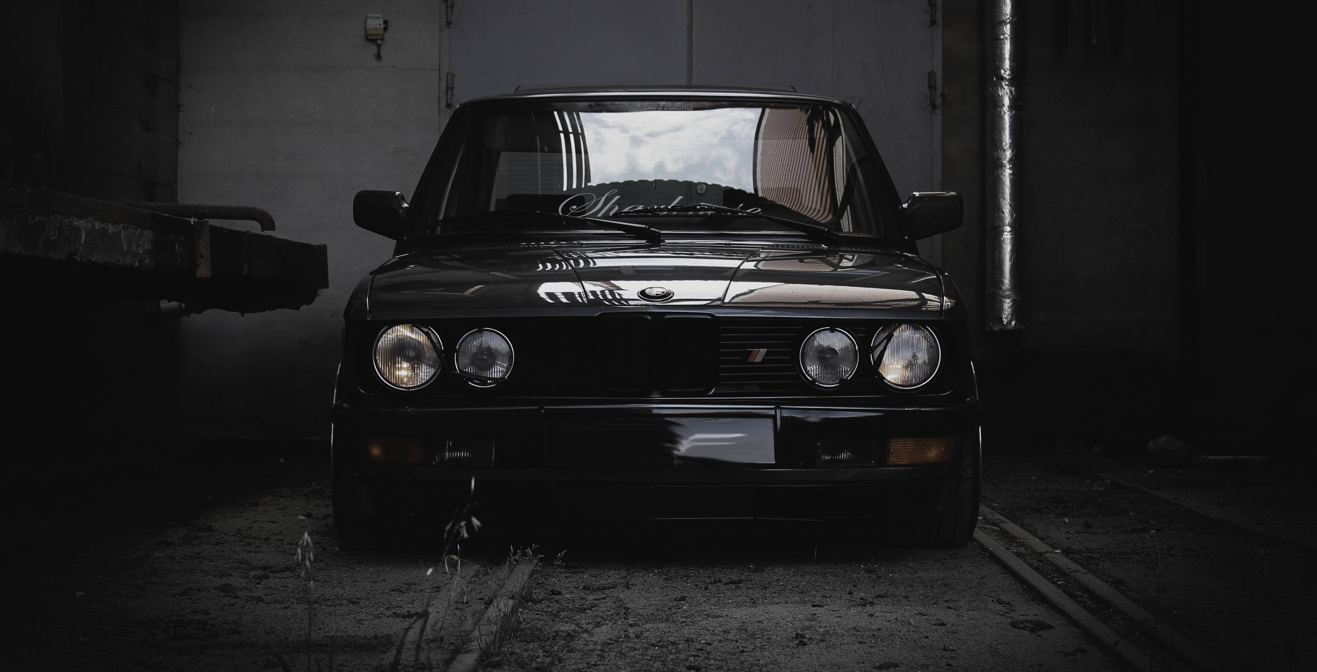 Black car BMW E28 Squatty Norway HD wallpaper Wallpaper Flare 4272x2180