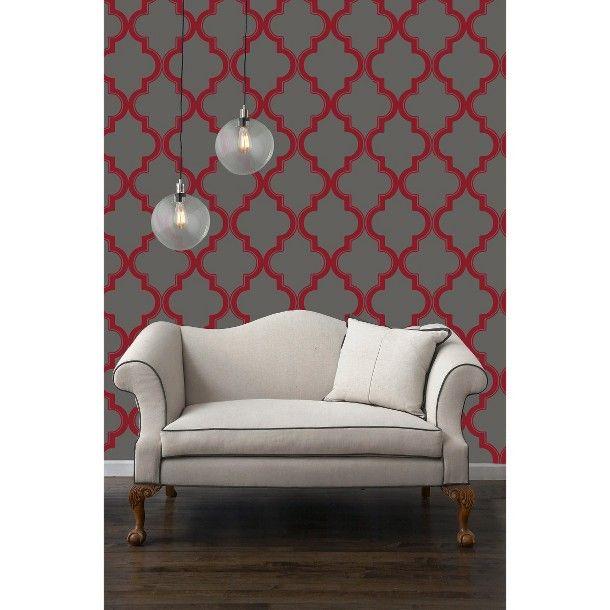 Tempaper Marakkesh Peel and Stick Wallpaper   RedGray 610x610