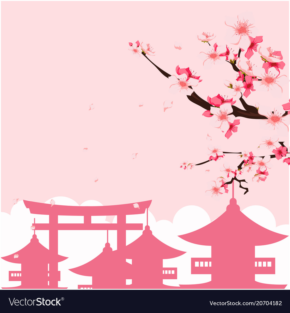 Japan pagoda sakura pink background image Vector Image 1000x1079