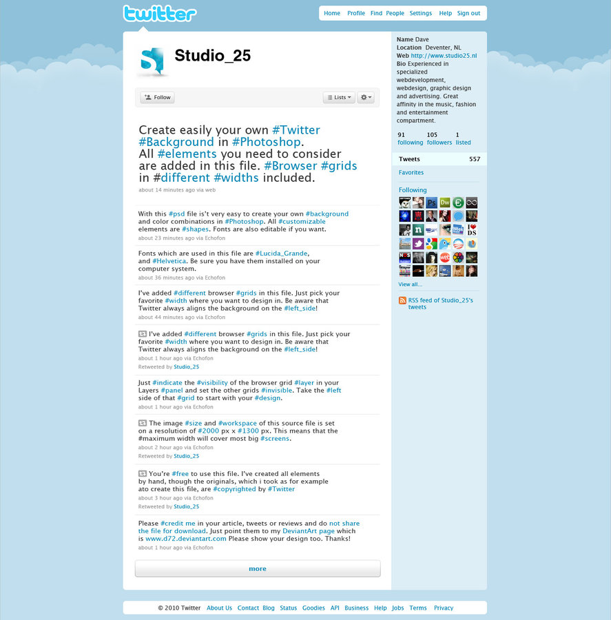 Download the PSD file to create your own Twitter background 887x900