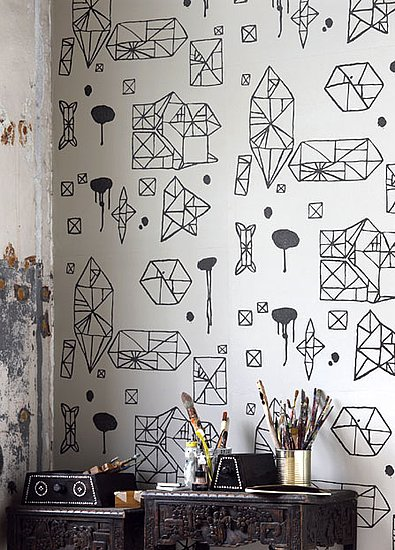 The 10 Coolest Black and White Geometric Wallpapers POPSUGAR Home 395x550