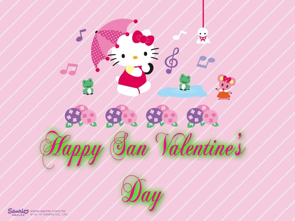 Wallpapers Backgrounds   Hello Kitty san valentine day 1024x768