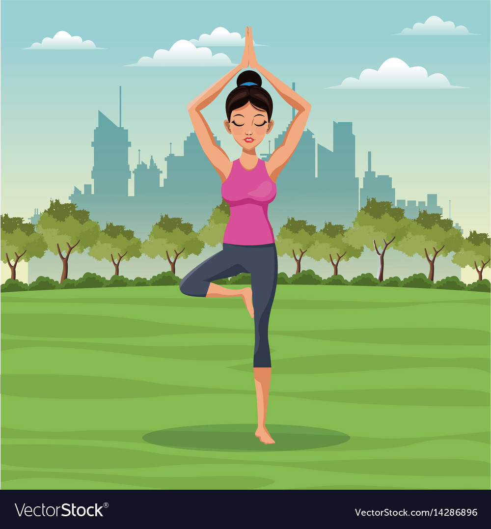 Woman posture yoga with park background Royalty Vector 1000x1077