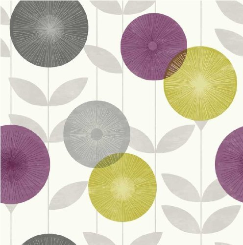 Description of Monroe Sun Floral Linear Leaf Print Luxury Wallpaper 496x500