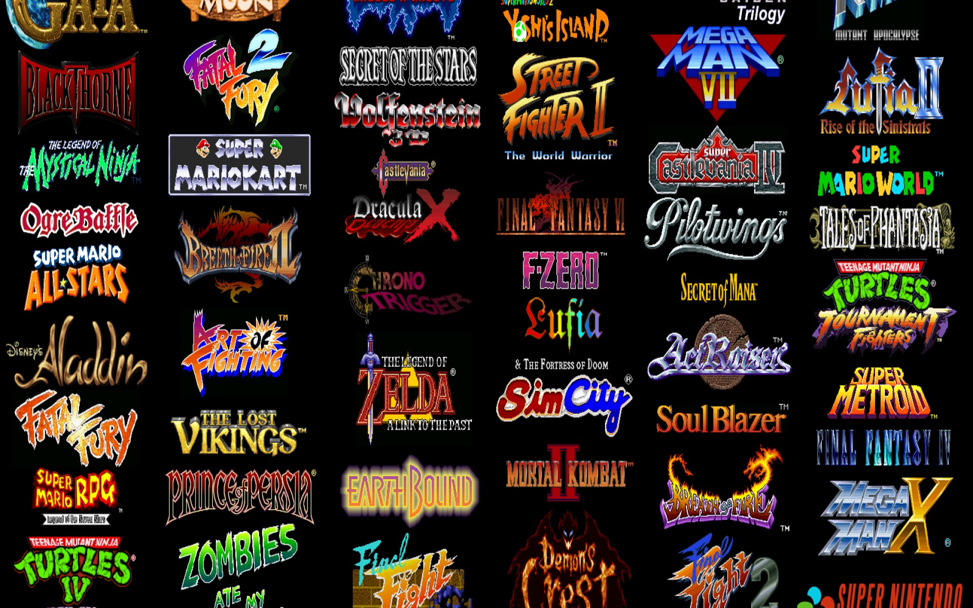 Video games super nintendo retro games wallpaper background 1920x1200