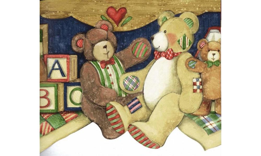 Home ABC Brown Gray Teddy Bear Wallpaper Border 1000x600