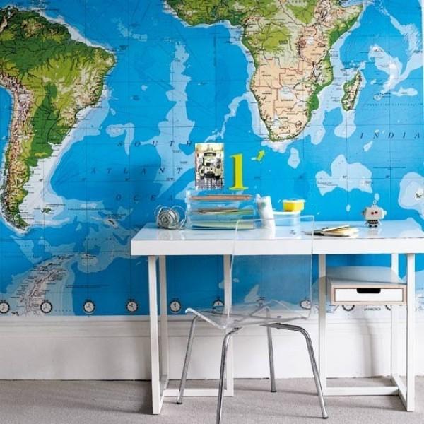 Map Wallpaper In Interior Design InteriorHoliccom 600x600