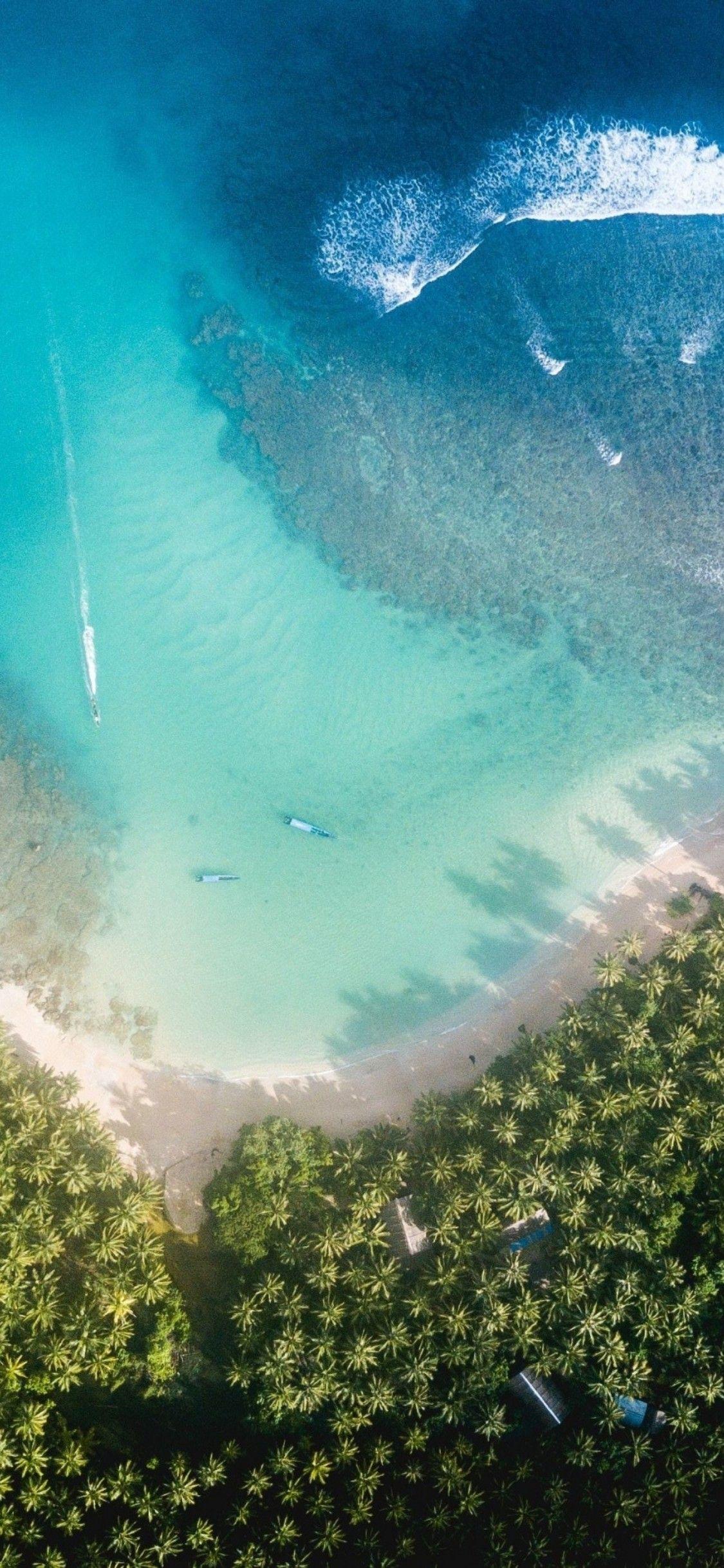 iOS 11 iPhone X Aqua blue Water beach wave ocean apple 1125x2436