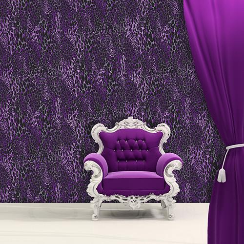 Glamour Puss   Purple Leopard   Glitter Wallpaper M0820 Freepost 500x500