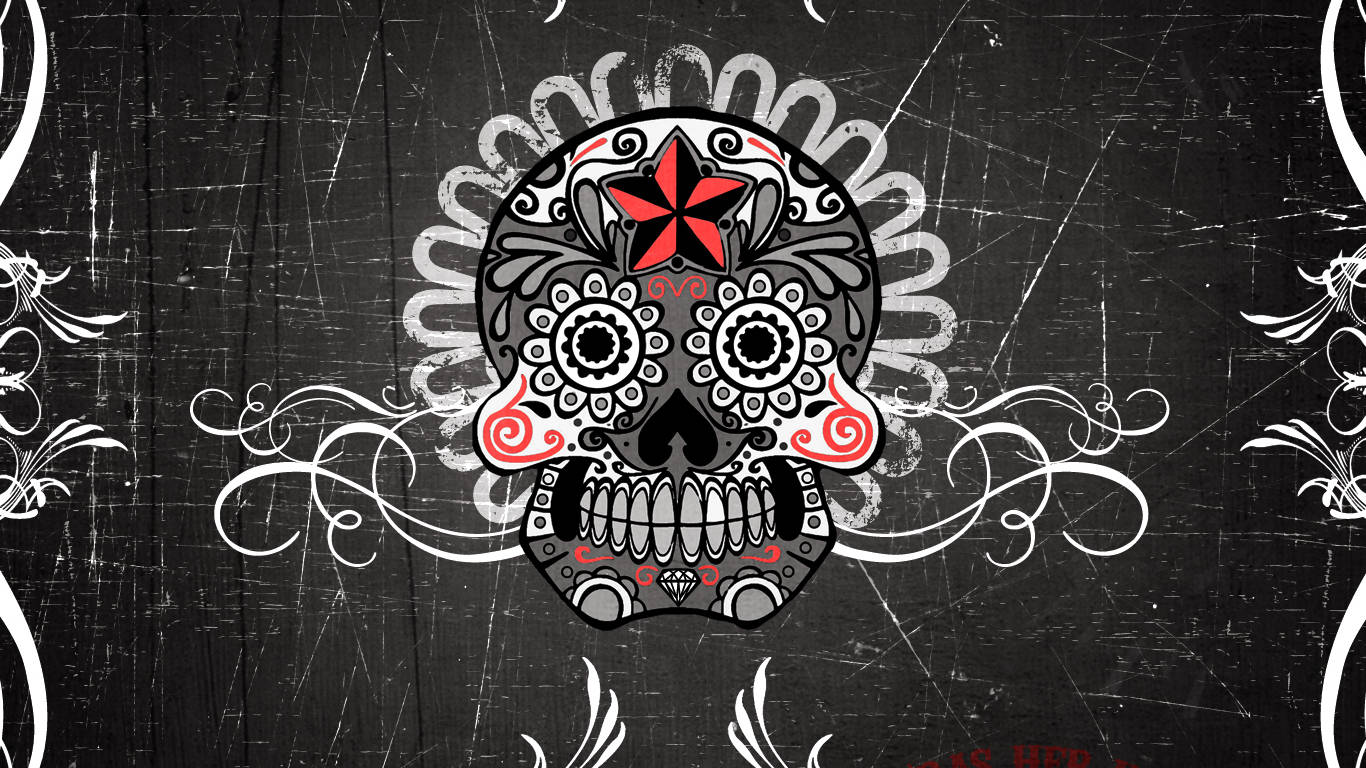 Mexican Skull Wallpaper Download The 1366x768