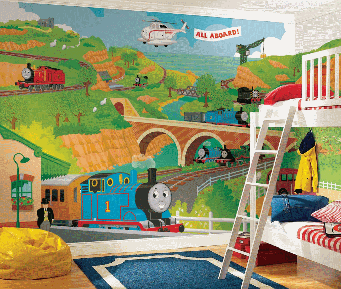 the Train Size Wallpaper Mural 9 x 15 Stickers For Wallcom 673x571