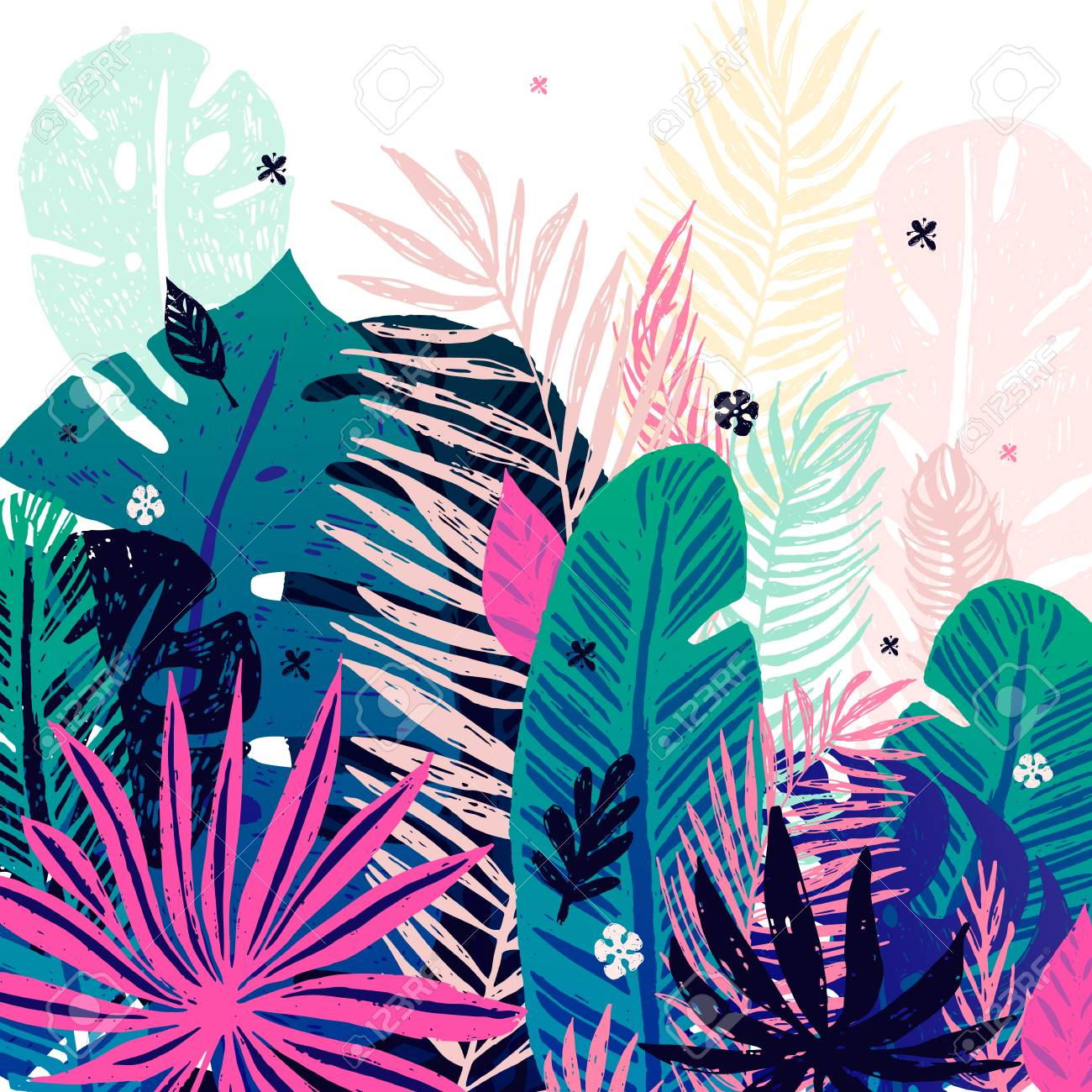 Multicolor Trendy Tropical Background Exotic Leaves Vector 1300x1300
