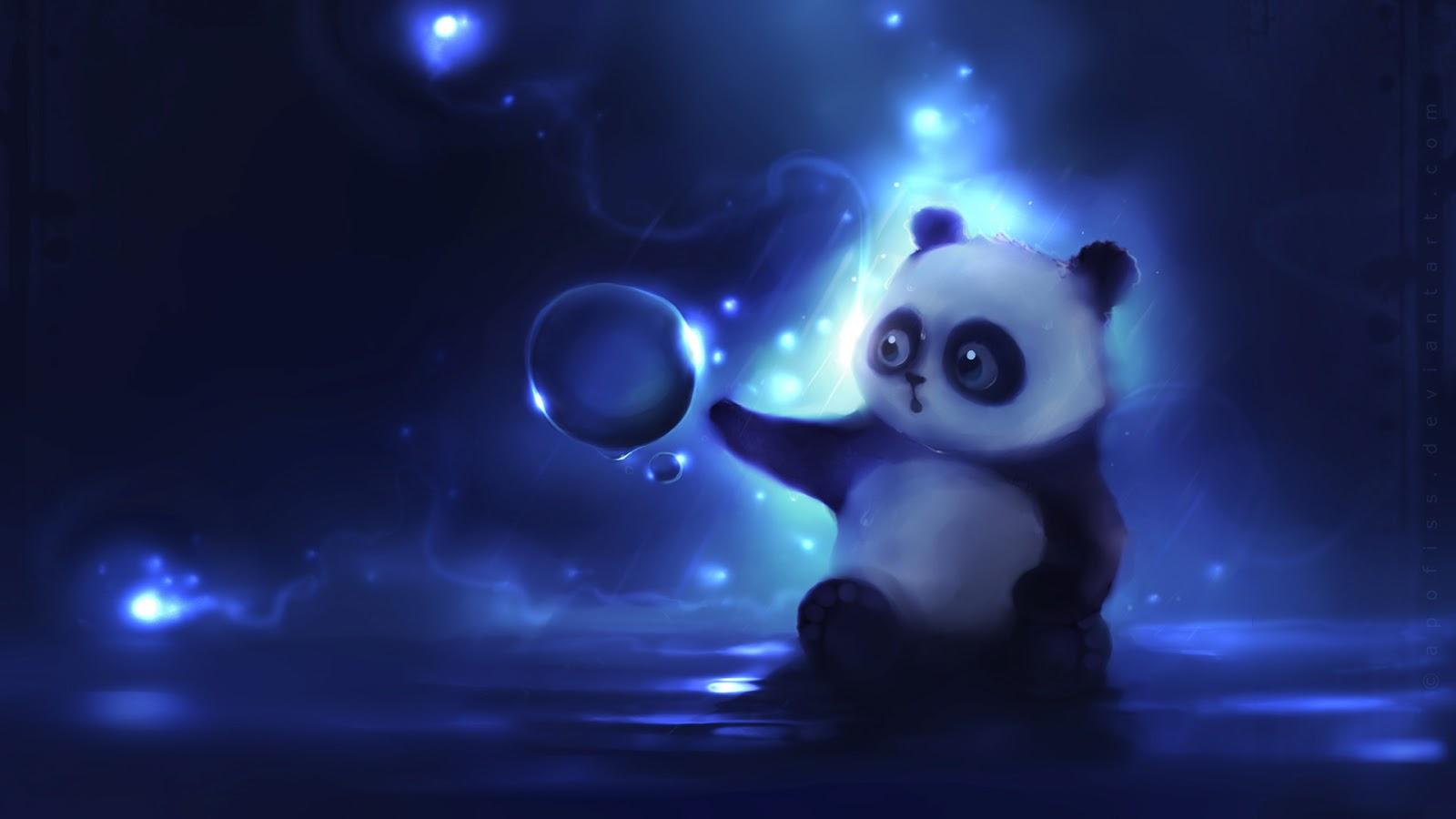 Cute animation wallpaper with panda bear ball curiosity   Will 1600x900