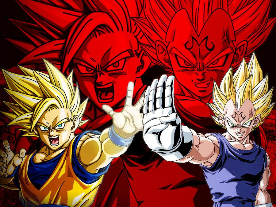 Wallpaper Goku Ssj2 vs Majin Vegeta by Dony910 900x675