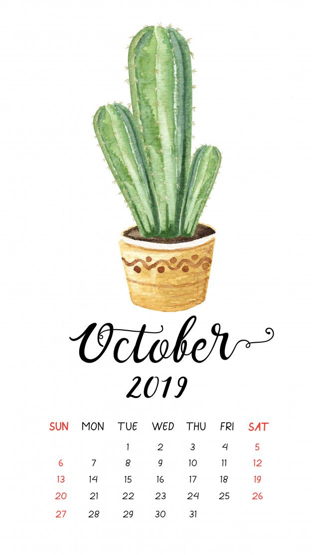 Watercolor cactus calendar for October 2019 Premium Vector 626x1111