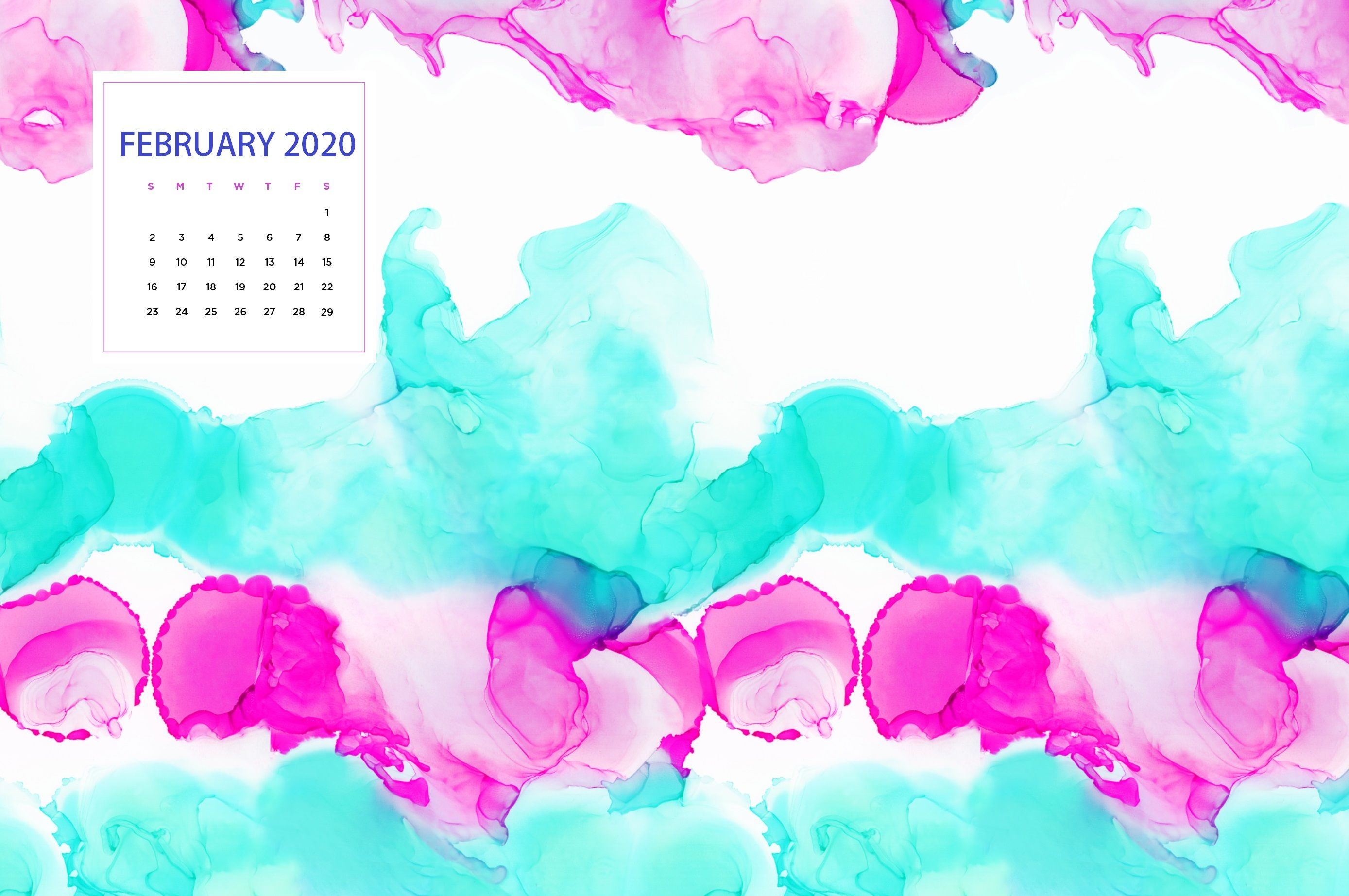 February 2020 Calendar Wallpapers   Top February 2020 2777x1845