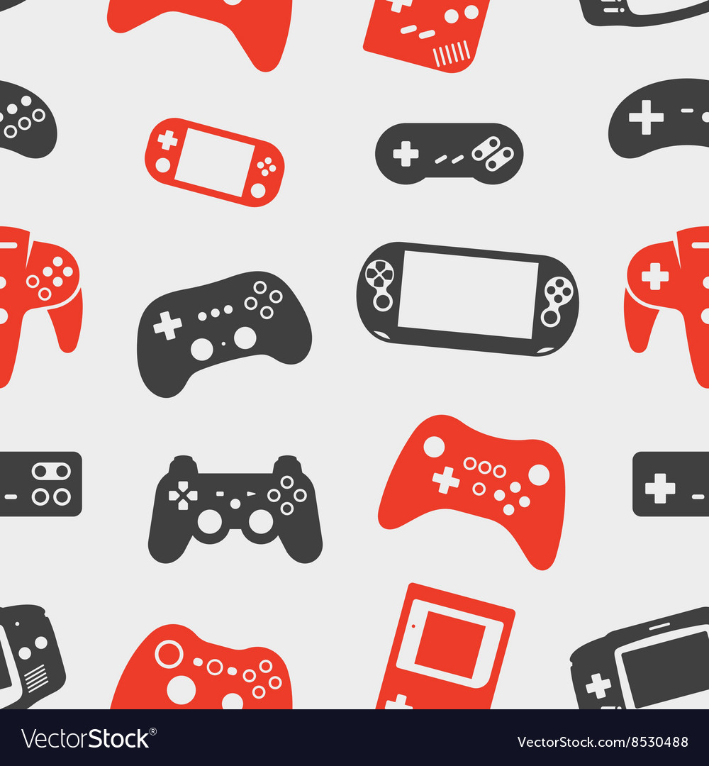 Gamepad silhouette seamless background Royalty Vector 1000x1080