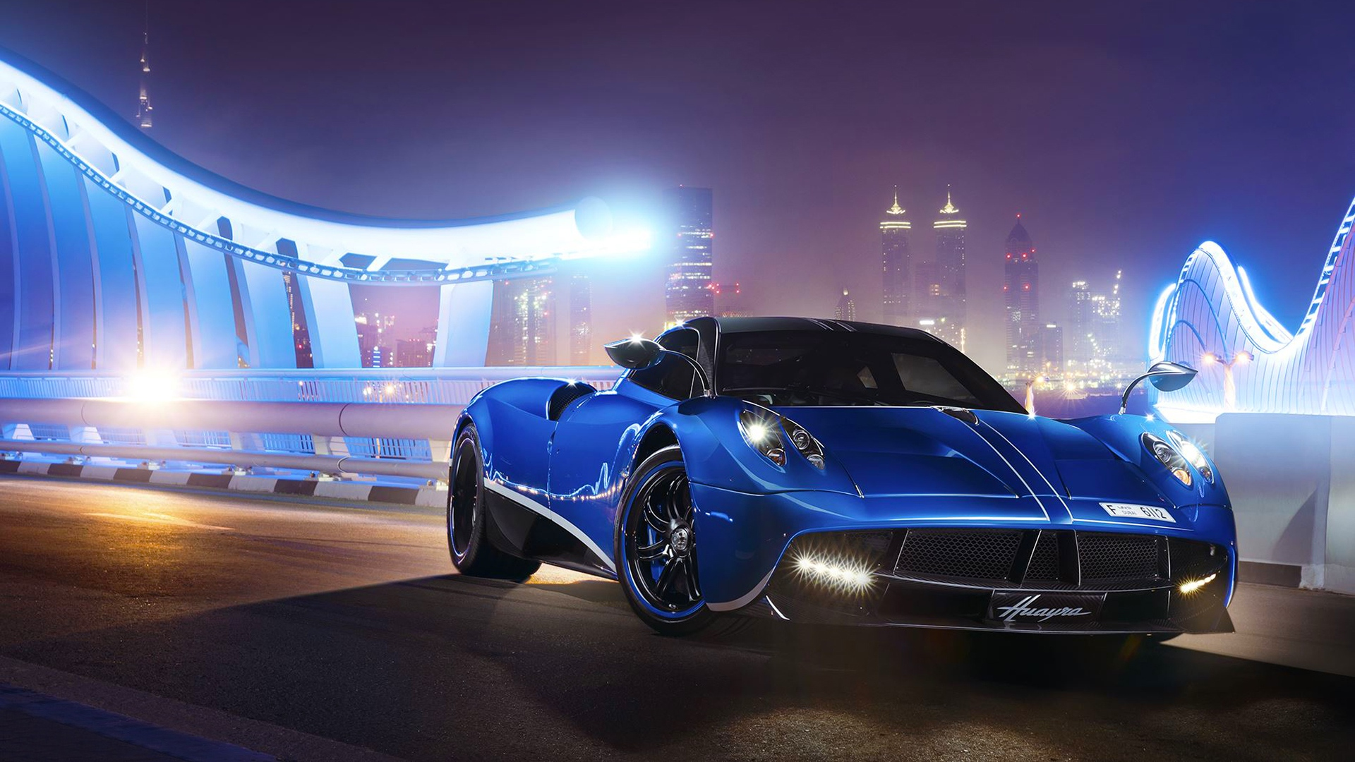 Wallpaper pagani huayra dubai sports car highway luxury night 1920x1080