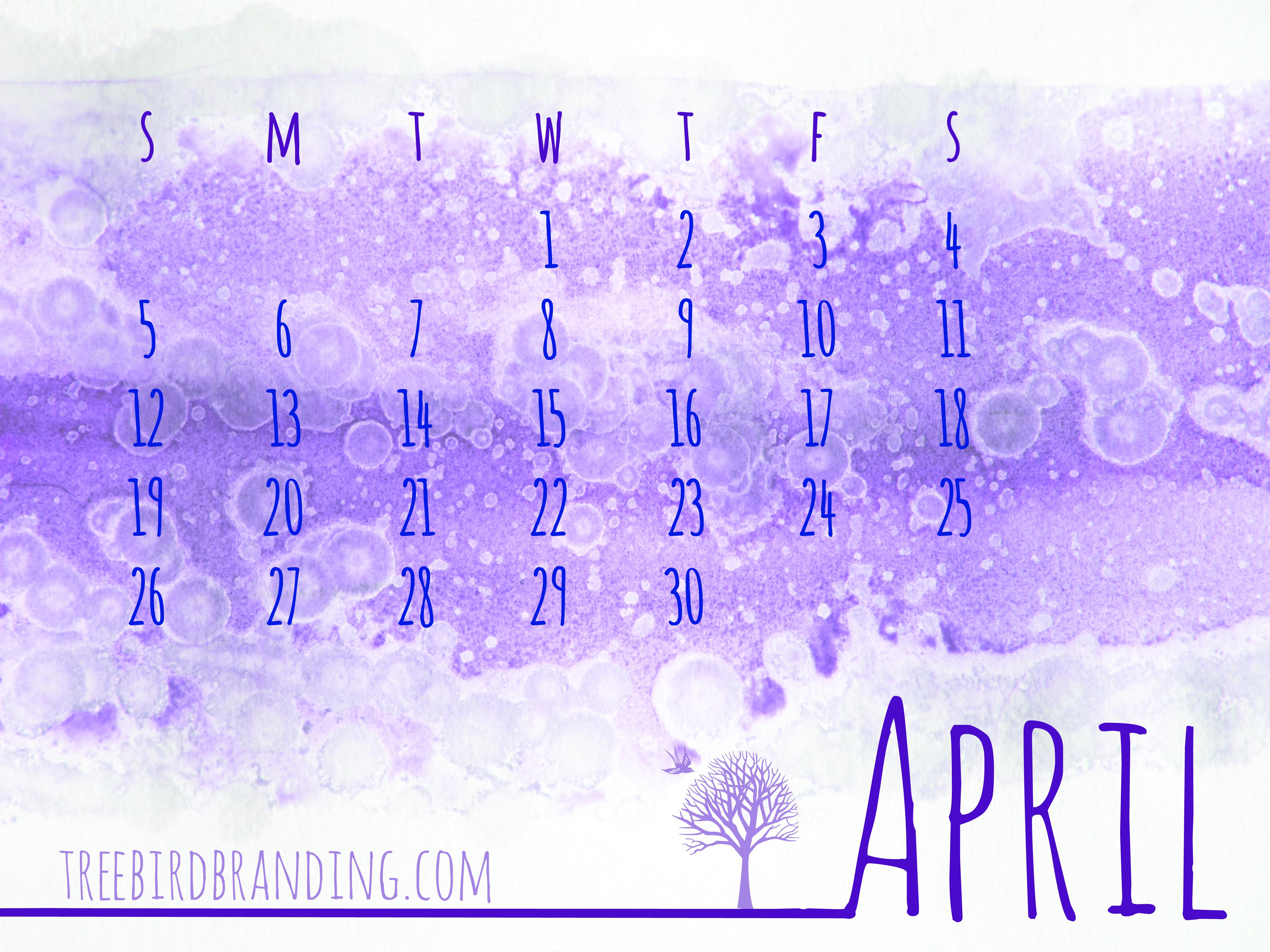 Desktop Wallpaper Calendar April Treebird Branding 4267x3200
