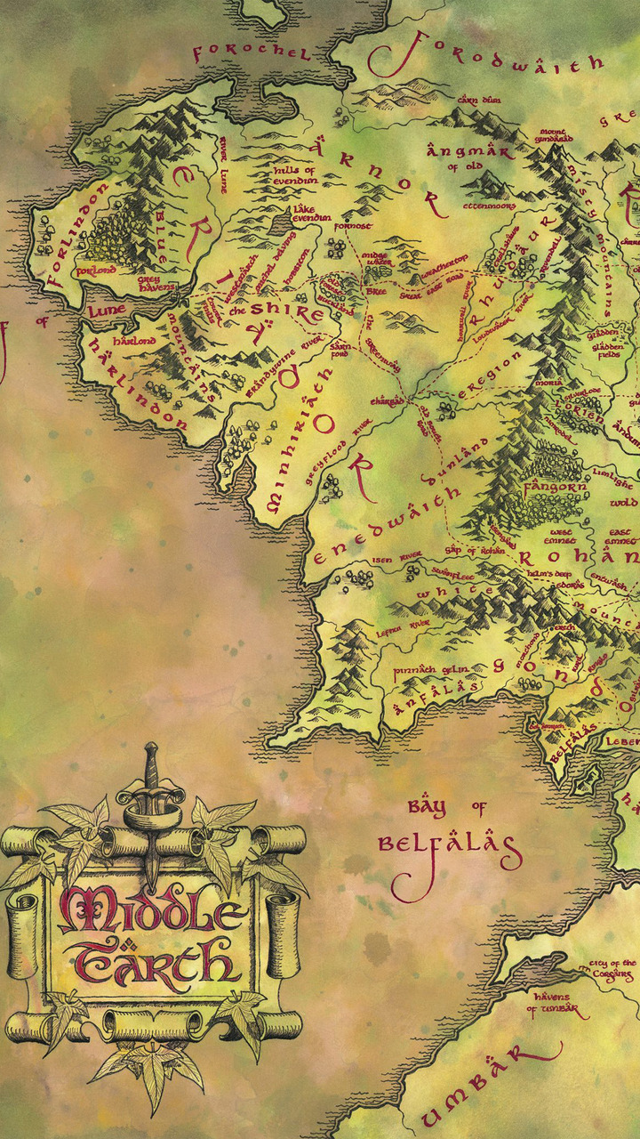 Middle earth map   The Lord of the Rings Mobile Wallpaper 4970 720x1280