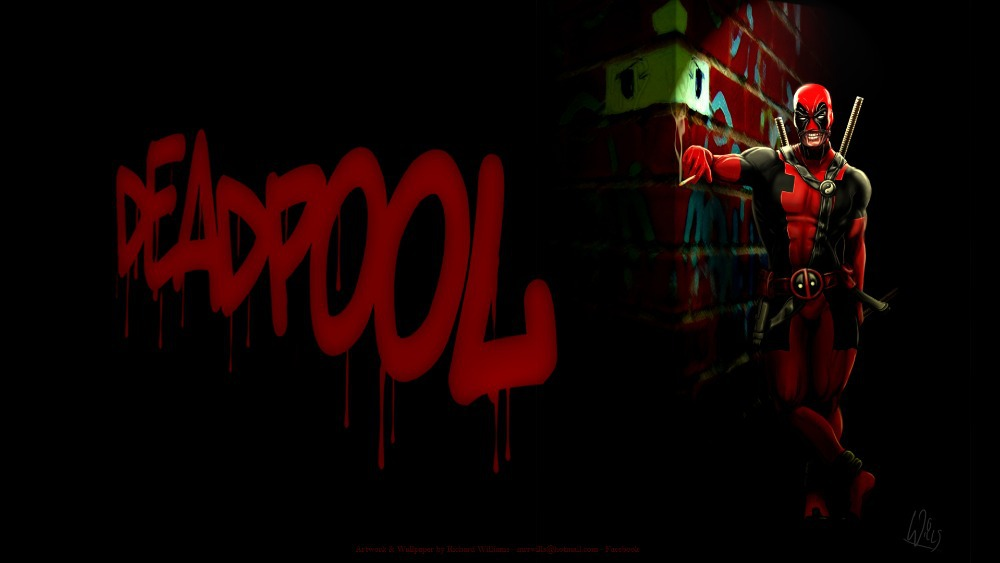 DC Comics Wall Sticker Well Design Crazy DEADPOOL Wallpaper 0265jpg 1000x563