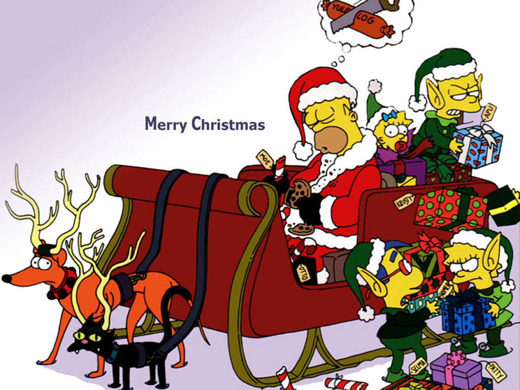 Animals Zoo Park 8 Christmas Cartoon Wallpapers for Desktop 1024x768