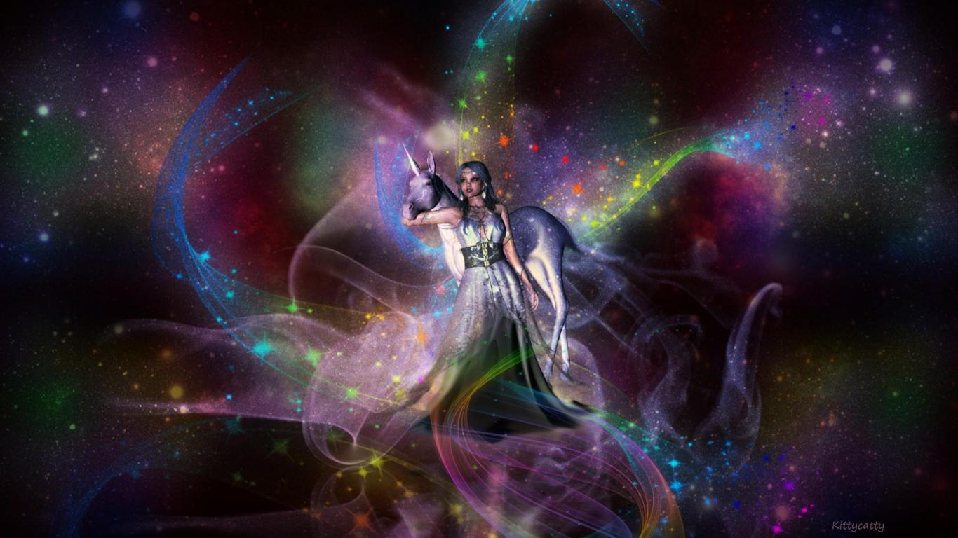 unicorn lady   99769   High Quality and Resolution Wallpapers on 1366x768