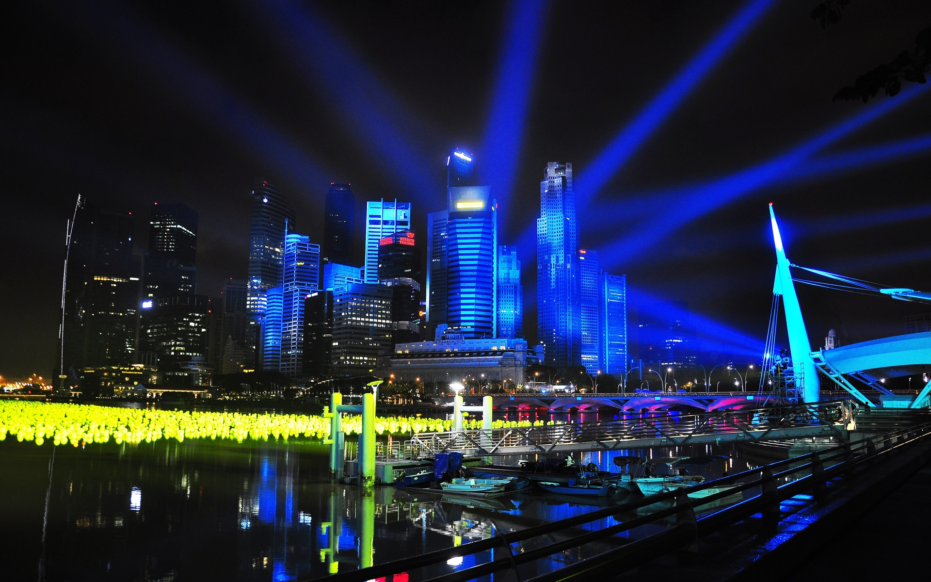 singapore city night lights wallpaper background 1920x1200