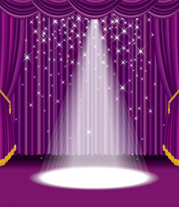 Theater Lights Background: Stage Curtain Wallpaper