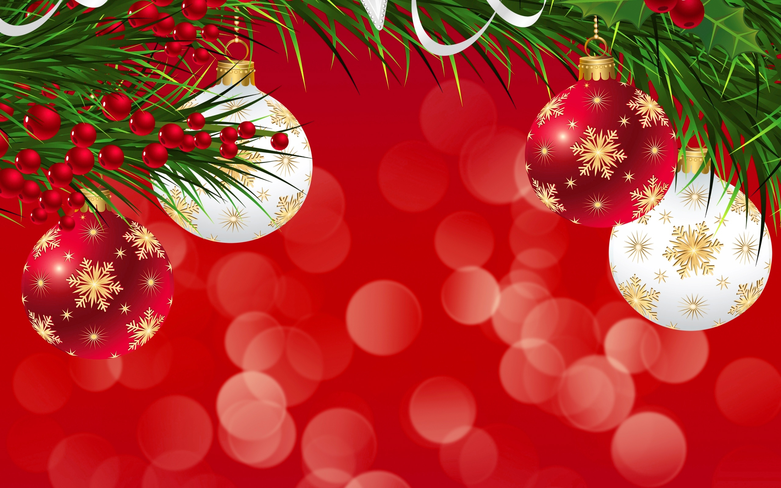 Red Christmas Background with Ornaments Gallery Yopriceville 2560x1600