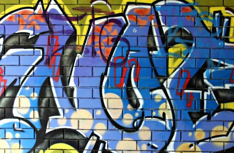 Blue Graffiti Wallpaper Mural 764x500