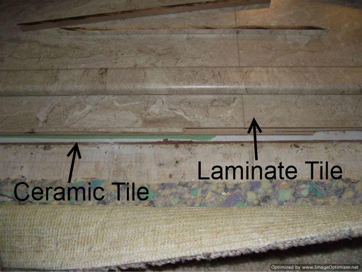 Laminate tile flooring in bathroom over ceramic tile 705x529